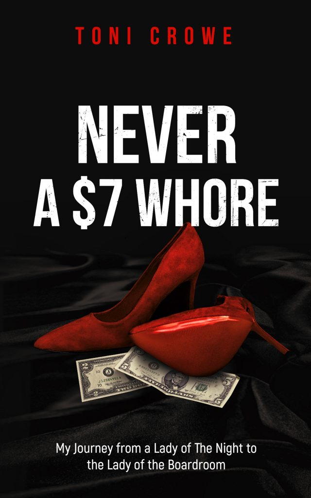 The image has two red womens high heal shoes on a table on a black velvet cloth. Under the edges of the shoes are a two dollar and a five dollar bill