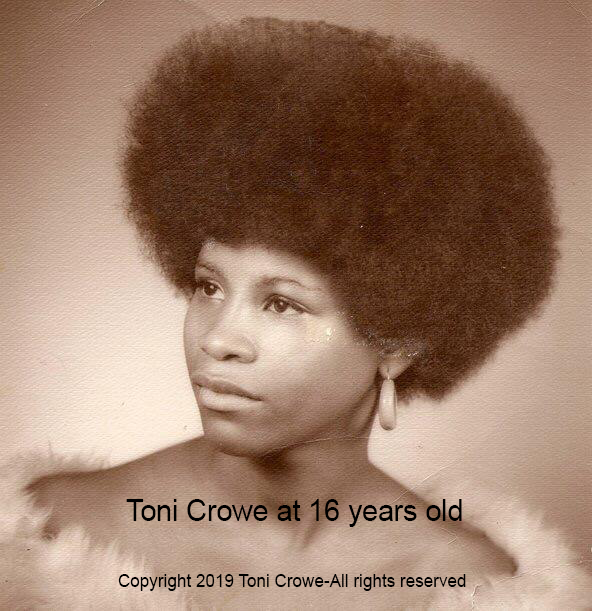 A picture of a young woman wearing a 1970's afto hair style